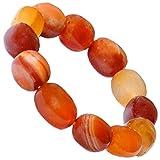 Kaltner Präsente Geschenkidee - Nugget Armband aus dem Edelstein Carneol Orange Rot (Stretch Band)