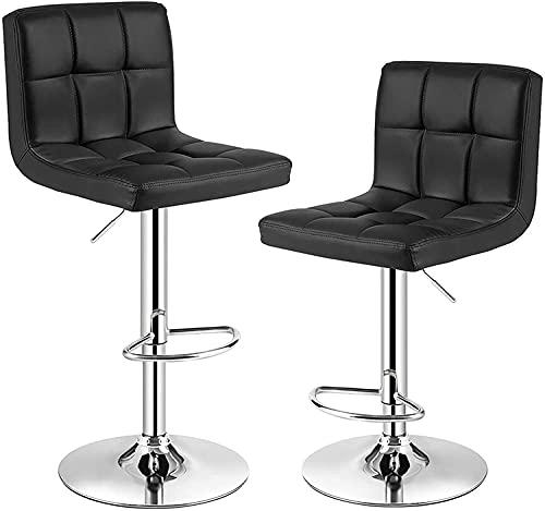 Huracan Set di 2 sgabelli da bar con schienale, grande seduta imbottita per un maggiore comfort di seduta, regolabili in altezza, con poggiapiedi, struttura cromata, portata fino a 150 kg (nero)