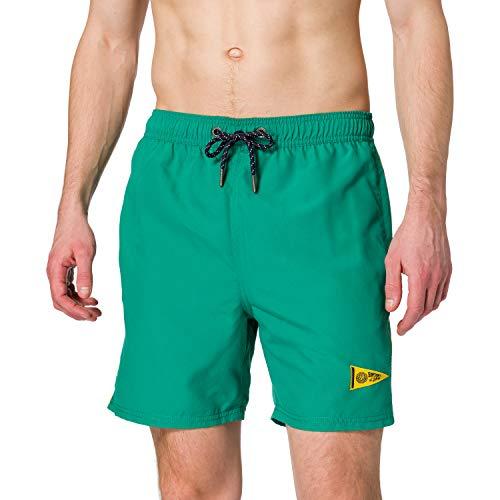 Superdry Varsity Swim Short Bermudas, Color Verde Campus, L para Hombre