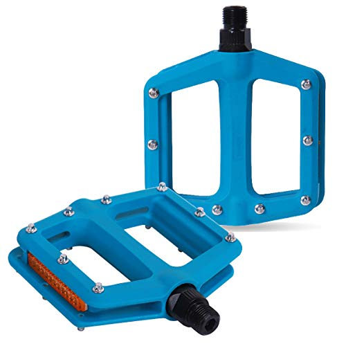 """DRBIKE MTB Pedals Mountain Bike Pedals Lightweight Nylon Fiber Bicycle Platform Pedals for BMX MTB Road Fixie 9/16"""", Teal"""