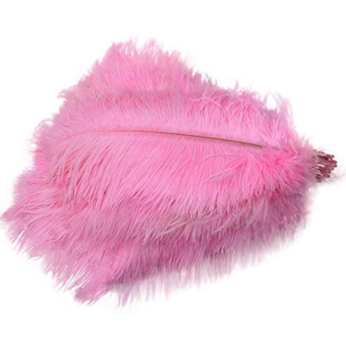 Sowder 50pcs Natural 8-10inch(20-25cm) Ostrich Feathers Home Wedding Decoration(Pink)