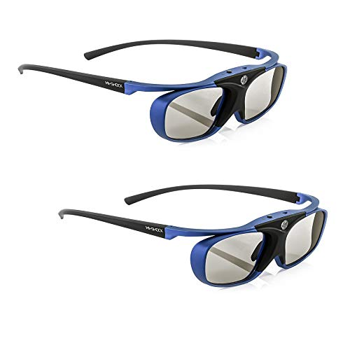 2x Hi-SHOCK RF Pro Deep Heaven | Funk 3D Brille kompatibel mit Epson / Sony RF Beamer komp. mit JVC PK-AG3 und PK-EM2 3D-Synchro-Sender / TDGBT500A [Shutterbrille | 120 Hz | Akku | 32g | FHD3D RF]