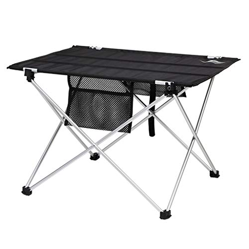 Mesa plegable de aleación de aluminio portátil para picnic con patas de aluminio enrollables de malla superior para mesas de camping/banquetes plegables (tamaño grande: grande)