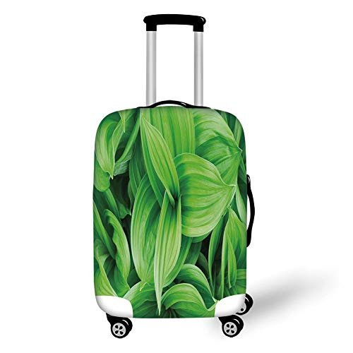 Travel Luggage Cover Suitcase Protector,Plant,Close up Beautiful Tropic Foliage Pattern Helleborus Leaves Natural Herbs Wildflowers,Lime Green,for TravelL 25.9x37.8Inch