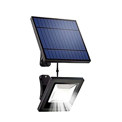 Solar Flood Light LED Solar Lights with 16FT Cable Detachable Panel Garden Security Waterproof for Ceiling Porch, Cabin roof,Tree,Doorway,Garden Lighting(White)