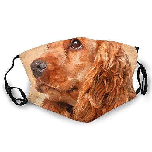 Maske Schutzmaske Englisch Cocker Spaniel Hund Digital Art Sturmhauben Mundschutz mit 2 austauschbaren Filtern Atmungsaktiv Mund-Nasen Bedeckung Halstuch Schals Herren Damen