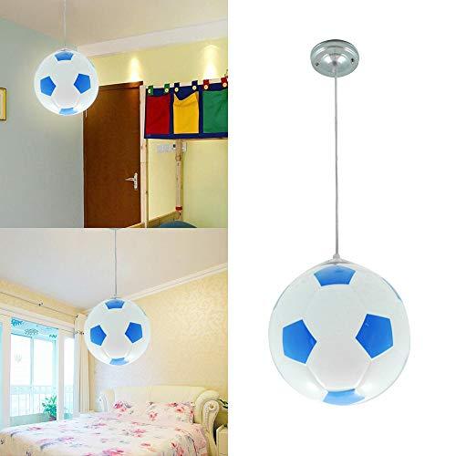 Wankd Lámpara de techo para habitación infantil, diseño de fútbol, moderna lámpara LED para niños, protección para los ojos, E27, salón, dormitorio, guardería, luz decorativa (azul)