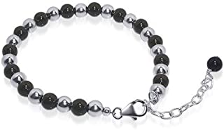 Gem Avenue 925 Sterling Silver Round Black Onyx and Beads 7 to 9 inch Adjustable Bracelet for Women