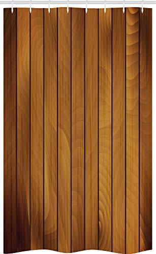 ABAKUHAUS Braun Schmaler Duschvorhang, Holzbrett gealtertes Holz, Badezimmer Deko Set aus Stoff mit Haken, 120 x 180 cm, Dunkelbraun Hellbraun