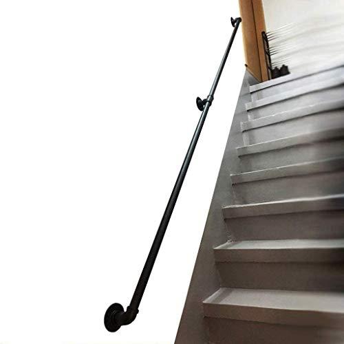 FCXBQ Kit de Soportes de pasamanos de Escalera Vintage, pasamanos de Hierro Forjado para escalones al Aire Libre o escaleras Interiores - Barandillas de barandilla para escaleras Pasamanos Rectos