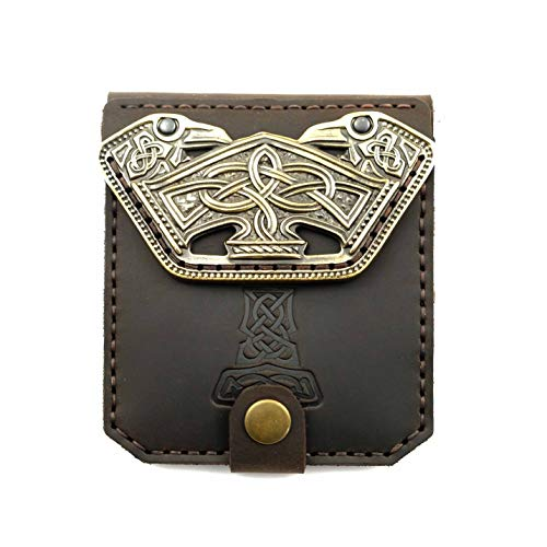 Scandinavian Old Norse leather wallet Mjolnir, Norse mythology Viking leather wallet with brass buckle Thor Hammer