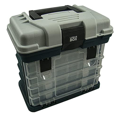 Lunar Box, Aufbewahrungs-Tragekoffer mit 4 ausziehbaren, verstellbaren Schubladenboxen, Angelgerätebox und Zubehör-Organizer (Grün & Grau)