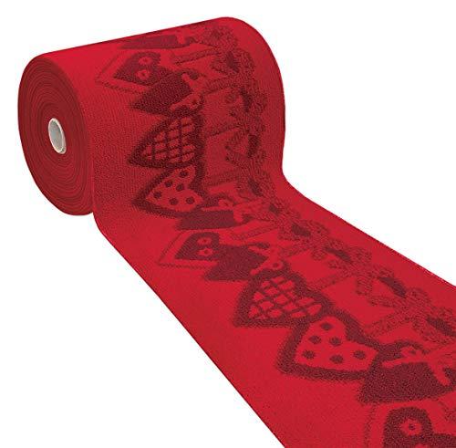 ARREDIAMOINSIEME-nelweb Tappeto Cucina Natale Cuori Rosso passatoia corsia Multiuso bordata Retro Antiscivolo in 7 Misure 100% Made in Italy MOD.Natalia (50x190cm)