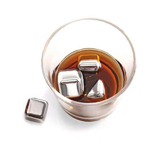 BYFRI Edelstahl-Whisky-Steine-Geschenk-Set Wiederverwendbare Eiswürfel Edelstahl Whisky-Steine ??eiswürfel Wiederverwendbare Getränke Steine ??Metall Ice Cooling Whisky Für Whisky-Liebhaber