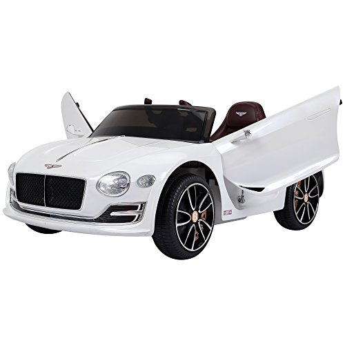 HOMCOM Bentley Licensed 12V Kids Children Electric Ride-on Car Twin Motors with Music Player LED Light Remote Control - White