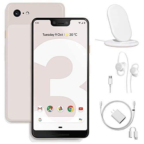Google - Pixel 3 64GB Memory Cell Phone (Unlocked), Not Pink, w/Charging Stand, Wired Earbuds and Google Charger - Bundle Set