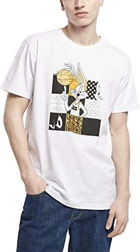 Mister Tee Space Jam Bugs Bunny Basketball tee Camiseta, Blanco, L para Hombre