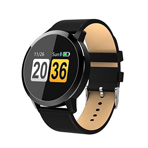 Adsvtech Smartwatch, Impermeable Reloj Inteligente Mujer Hombre, Pulsera Actividad Inteligente Reloj Deportivo Reloj Fitness con Monitor de sueño Pulsómetro Cronómetros para iOS Android (Cuero Negro)
