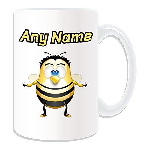 UNIGIFT gepersonaliseerd geschenk - grote bijenmok (Penguin dier kostuum ontwerp wit) Naam bericht unieke dom grappige nieuwigheid wesp hommel bloem honing buzz pollen Nectar