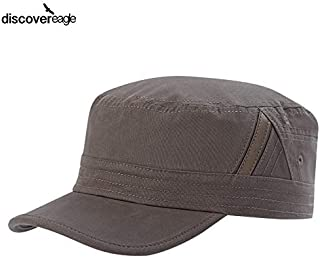 discover eagle - Leathered Bevel Stripe Flat Top Cap