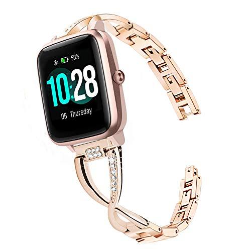 WATORY Ersatz für ID205L Armband, chmuck Armreif Metall Edelstahl Strass Diamant Uhrenarmband Ersatzband für ID205L/ willful SW021/ YAMAY SW021/LIFEBEE ID205L Smartwatch, Roségold