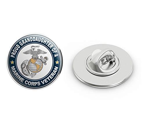 """US Marine Corps Veteran Proud Granddaughter Steel Metal 0.75"""" Lapel Hat Shirt Pin Tie Tack Pinback"""