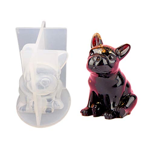 3D French Bulldog Soap Mold, Puppy Silicone Mold for Cake Decorating Candle Making Resin Epoxy Jewelry DIY Necklace Pendant Casting Plaster Clay Mold Ice Cube Tray
