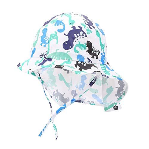 ZHAONAA Mode lässig Kinder Hut Staubdicht Sonnenschutz Nackenschutz Sonnenschutz Kinder Strand Hut Cartoon-Tiere (Color : White, Size : 49cm)