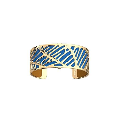 Les Georgettes - Bundle - Armreif Gold 25mm Zebrures inkl. Ledereinsatz Senf Gelb/Blau Leuchtend