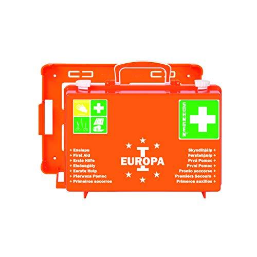 Söhngen Erste-Hilfe-Koffer Europa I gefüllt (mit Wandhalterung, Füllung nach DIN 13157, mit aluderm Verbandspäckchen, Kompressen, Rettungsdecke) orange, 03001356