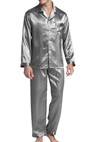 Herren Schlafanzug Pyjama Set Satin Nachtwäsche mit Langen Ärmel Loungewear (Grau, XL)