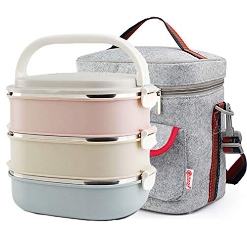 Homemper Lunchbox aus Edelstahl, Büro-Lebensmittel-Aufbewahrungsboxen, Isolierte Vakuum-Lunch-Container für Picknick (3-Tier) (Lunchbox-Set)