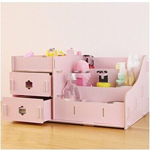 Preisvergleich Produktbild SA DIY Kosmetik Holz- Aufbewahrungsbox kleine Gegenstände Desktop Sortierbox Box Schmuck Schreibwaren Rack Schublade Storage Storage Box Office Multi-Grid,  Rosa