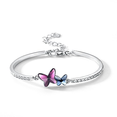 Silver Bracelet with blue and pink crystal butterflies