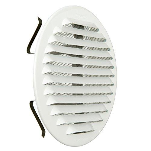 La ventilación gabtu125r-y Rejilla Redonda universal con muelles, aluminio blanco