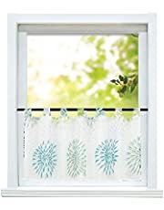 ESLIR Visillo moderno Bistro cortina cocina cortinas transparente cortinas con trabillas cortina corta gasa círculo patrón verde alto x ancho 45 x 90 cm 1 pieza