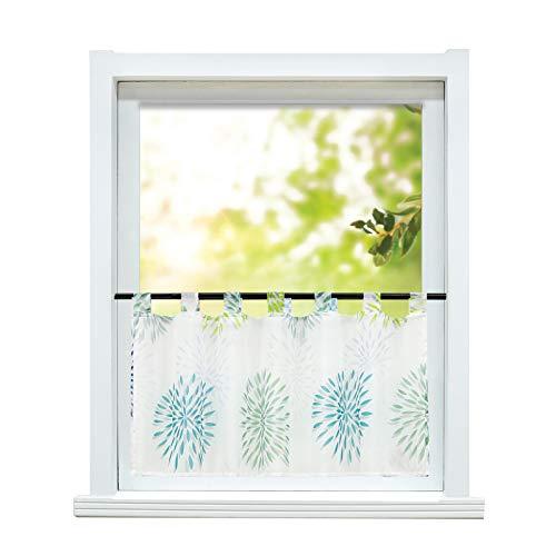 ESLIR Scheibengardine modern Bistrogardine Küche Gardinen Transparent Vorhänge mit Schlaufen Kurzgardine Voile Kreis Muster Grün HxB 45x120cm 1 Stück