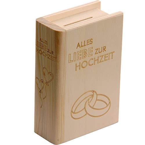 Spruchreif PREMIUM QUALITÄT 100% EMOTIONAL · Spardose Buch aus Holz mit Gravur zur Hochzeit · Sparbuch als originelles Hochzeitsgeschenk · Geldgeschenk (Alles Liebe zur Hochzeit)