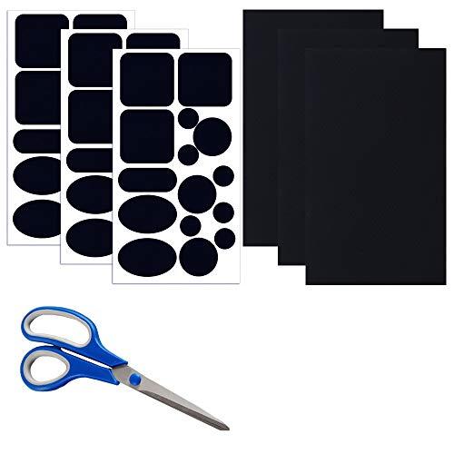 Skystuff 48 parches de chaqueta de plumón con tijeras, cinta de reparación de nailon autoadhesiva, para chaqueta, tienda de campaña, reparación de ropa de abrigo (azul marino)