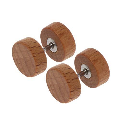 SUSHUN Pendientes de tuerca de madera natural con forma de ilusión y dilatación para el oído, túnel de madera original
