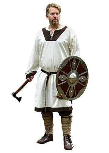 Battle-Merchant Wikinger Tunika Vallentin Langarm für Herren Baumwolle | Mittelalter LARP Vikings mittelalterliches Kostüm (Natur/Braun/XL)