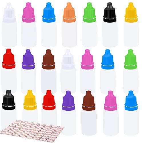 100 Pzs Botellas de Goteo, 10 ml Cuentagotas de Dispensador, Botes Vacíos de Plástico con Cuentagotas, Diez Colores, Portátiles y Rellenables, para e-líquido, Aceites, Tintes, Muestra, (128 pe
