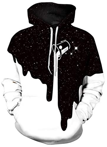 Cute Milk Hoodies Men's White Sweater Women's Black Pullover Night Galaxy Graphic Sweatshirts Long Sleeve Drawstring Hoodies Clothes with Pockets