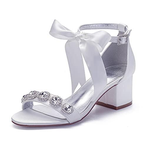 Sandalias De Boda Tacón Bajo para Mujer Correa De Tobillo Satén Zapatos...