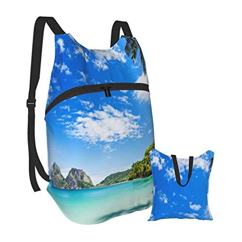 Mochila portátil plegable, mochila para computadora para adultos, cocoteros, azul, blanco, antirobo, delgada, duradera, para portátiles