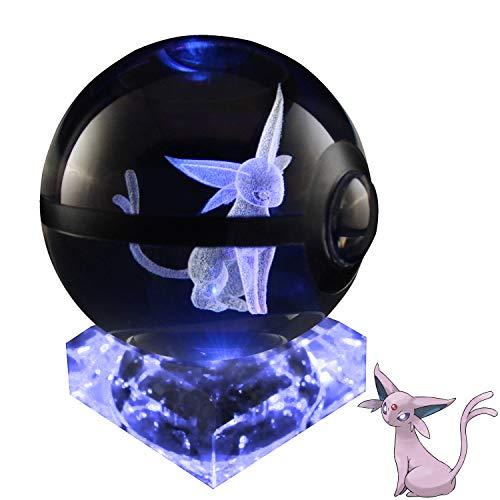 Baken 3D Crystal Ball LED Night Light Laser Engraving with Crystal Base (Espeon)
