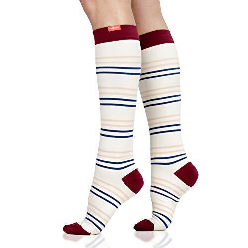 VIM & VIGR Nylon 15-20 mmHg Compression Socks for Women and Men (Cream & Peach, Small-Medium)
