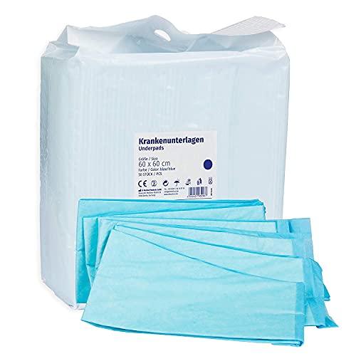 Krankenunterlagen 50 Stück 60x60cm 6-lagig blau, Einwegunterlagen, Einmalunterlagen, Inkontinenzunterlagen, Hygieneunterlagen