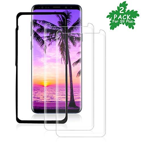 Vzzn(2 Pack Galaxy S9 plus Screen Protector met uitlijning frame gereedschap, Screen Protector gehard glas voor Samsung Galaxy S9 plus 3D volledige dekking/HD Clear/9H Hardheid/Anti-Scratch-Transparant