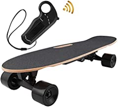 OppsDecor Electric Skateboard Youth Electric Longboard with Remote Control for Adults, 7 Layers Maple Longboard, 12 MPH Top Speed, 10 Miles Range (Black)